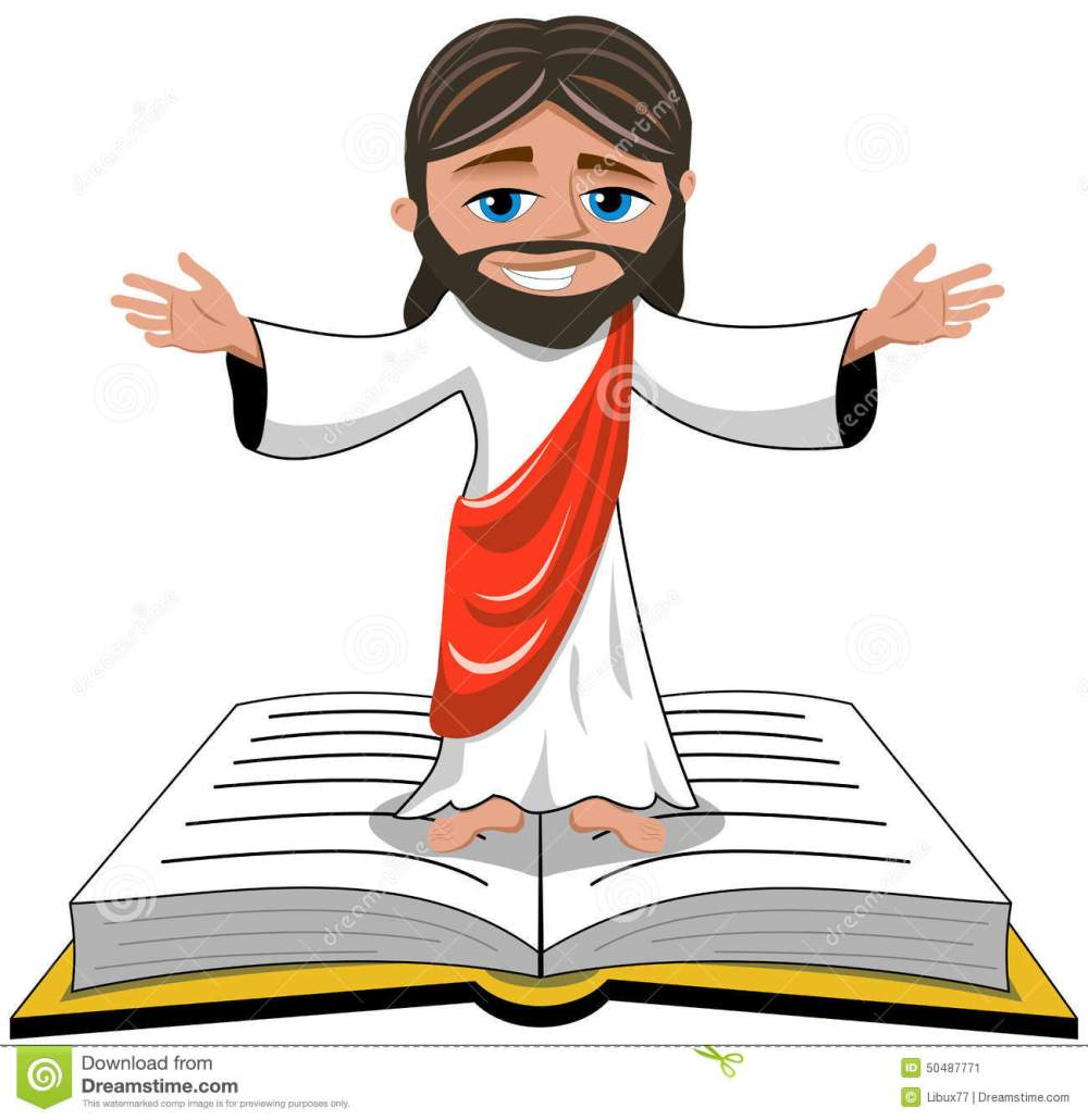 jesus-christ-open-hands-bible-gospel-isolated-cartoon-smiling-opens-his-standing-book-white-eps-available-50487771